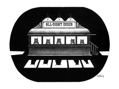 """The faces of owls peer through the windows of an """"All Night Diner"""". - New Yorker Cartoon"""