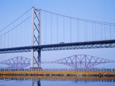 Firth of Forth Bridges, 1964 Road Suspension Bridge, 1890 Rail Bridge, Scotland, UK
