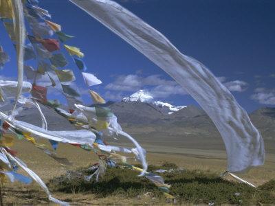 Prayer Flags on Top of Low Pass on Barga Plain, with Mount Kailas (Kailash) Beyond, Tibet, China