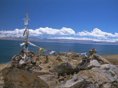Prayer Flags Over Sky Burial Site, Lake Manasarovar (Manasarowar), Tibet, China