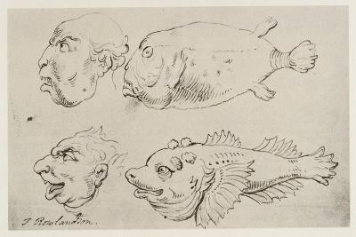 Anthropomorphic Heads of Men and Fish-Thomas Rowlandson-Giclee Print