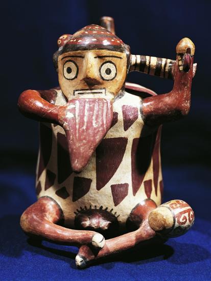 Anthropomorphic Polychrome Terracotta Vessel with Music Symbols, Peru, Nazca Culture--Giclee Print