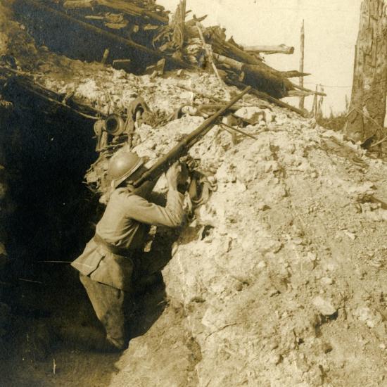 Anti-aircraft firing using machine gun, c1914-c1918-Unknown-Photographic Print