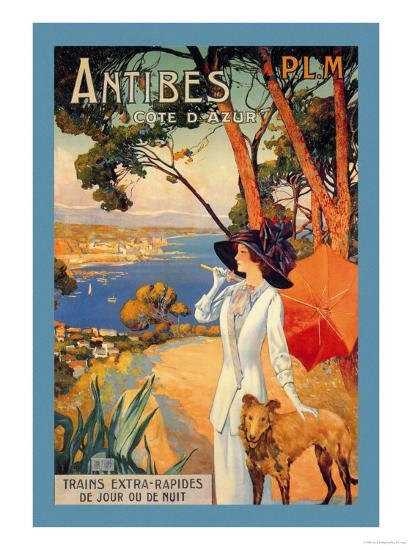 Antibes, Lady in White with Parasol and Dog-David Dellepiane-Art Print