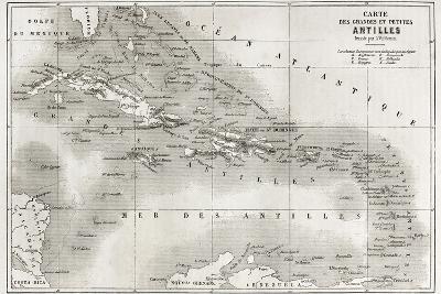 Antilles Old Map. Created By Vuillemin And Erhard, Published On Le Tour Du Monde, Paris, 1860-marzolino-Art Print