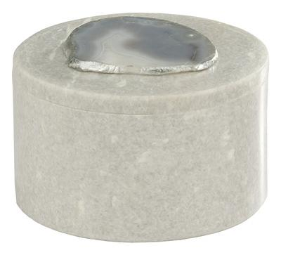 Antilles Round Box In White Marble And Natural Agate