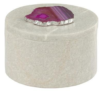 Antilles Round Box In White Marble And Pink Agate