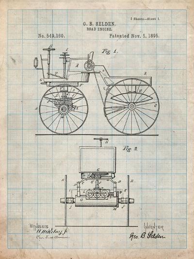Antique Automobile Patent 1895-Cole Borders-Art Print