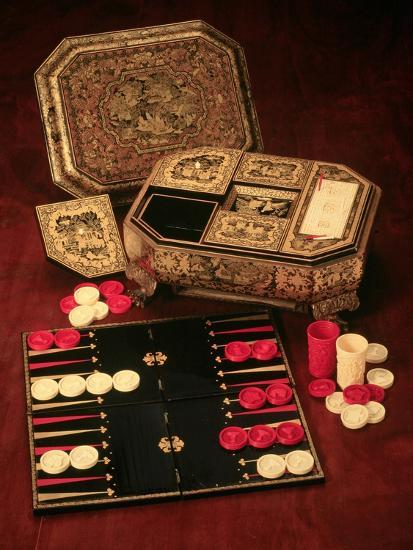 Antique Backgammon Set and Boards--Giclee Print