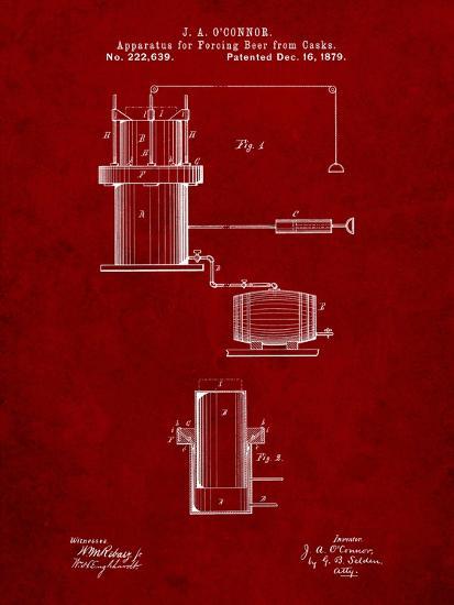 Antique Beer Cask Diagram Patent-Cole Borders-Art Print
