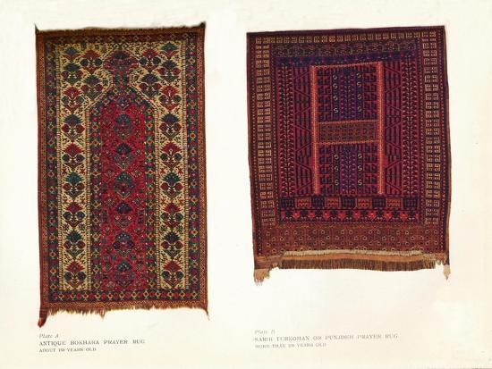 Antique Bokhara prayer rug and Sarik Turkoman or Punjdeh prayer rug, c1920-Unknown-Giclee Print