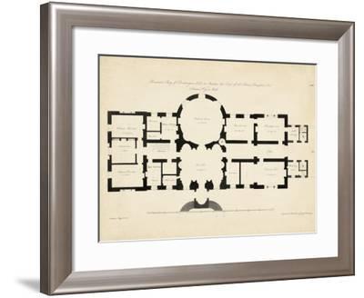 Antique Building Plan I--Framed Art Print