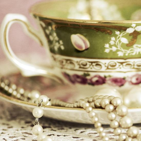 Antique Cups and Saucers with Pearls 02-Tom Quartermaine-Giclee Print