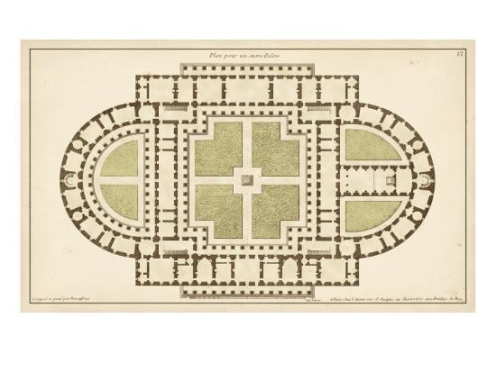 Antique Garden Plan I-Jean Deneufforge-Art Print