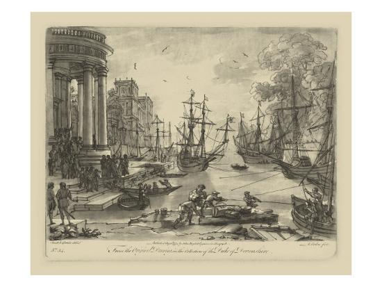 Antique Harbor V-Claude Lorraine-Art Print