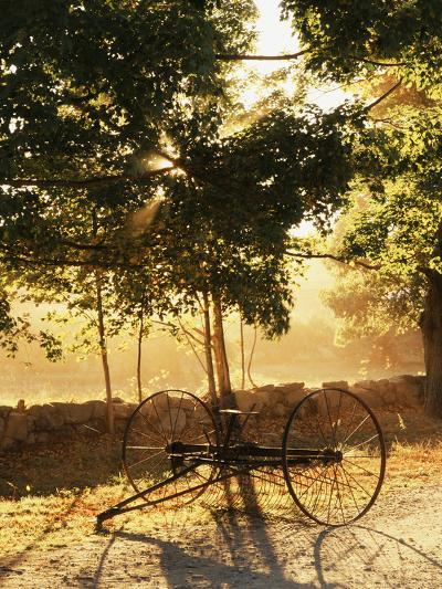 Antique Hay Raker, Autumn, Peacham, Northeast Kingdom, Vermont, USA-Walter Bibikow-Photographic Print