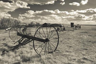 Antique Hay Raker, Prairie Homestead, Cactus Flat, South Dakota, USA-Walter Bibikow-Photographic Print