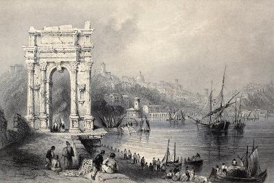 Antique Illustration Of Arco Di Traiano In Ancona, Italy-marzolino-Art Print