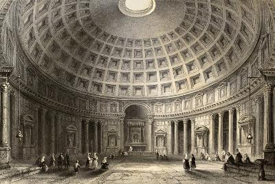 Antique Illustration Of Pantheon In Rome, Italy-marzolino-Art Print