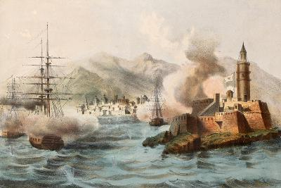 Antique Illustration Shows Palermo Bombing In 1860 By Bourbon'S Fleet-marzolino-Art Print