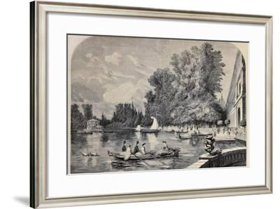 Antique Illustrations Of Fontainebleau Basin And Castle-marzolino-Framed Art Print