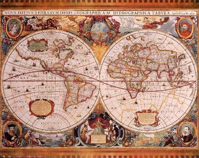 Antique Map, Geographica, c.1630-Henricus Hondius-Art Print