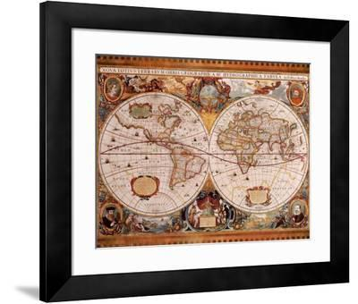Antique Map, Geographica, c.1630-Henricus Hondius-Framed Art Print