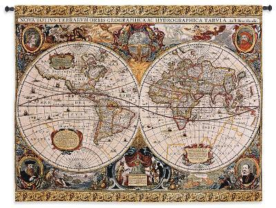 Antique Map Geographica Large Wall Tapestry--Wall Tapestry