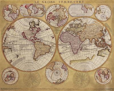 Antique Map, Globe Terrestre, 1690-Vincenzo Coronelli-Art Print