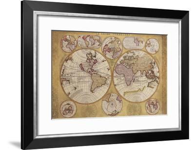 Antique Map, Globe Terrestre, 1690-Vincenzo Coronelli-Framed Premium Giclee Print