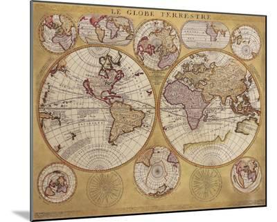Antique Map, Globe Terrestre, 1690-Vincenzo Coronelli-Mounted Print