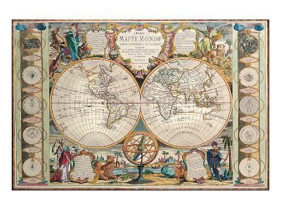 Antique Map, Mappe Monde, 1755-Jean-baptiste Nolin-Art Print
