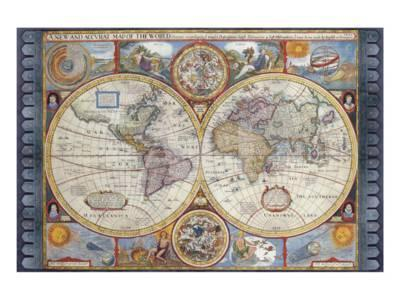 A New And Accvrat Map Of The World 1626.Antique Map New Map Of The World 1626 Premium Giclee Print By