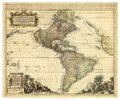 Antique Map of America II--Giclee Print