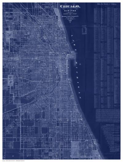 Antique Map of Chicago (blue)-Blanchard-Art Print