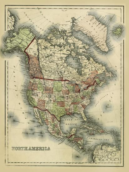Antique Map Of North America.Antique Map Of North America Art Print By Alvin Johnson Art Com