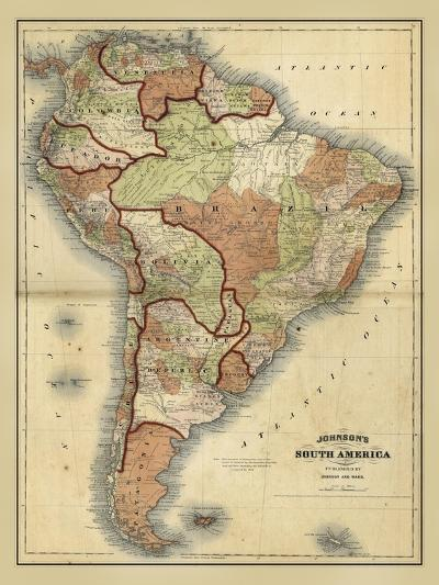 Antique Map of South America-Alvin Johnson-Art Print