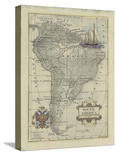 Antique Map of South America-Vision Studio-Stretched Canvas Print