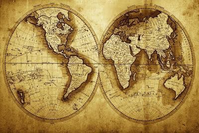 Antique Map Of The World (Circa 1711 Year)-Oleg Golovnev-Art Print