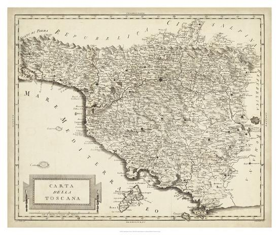 Antique Map of Tuscany-Unknown-Giclee Print