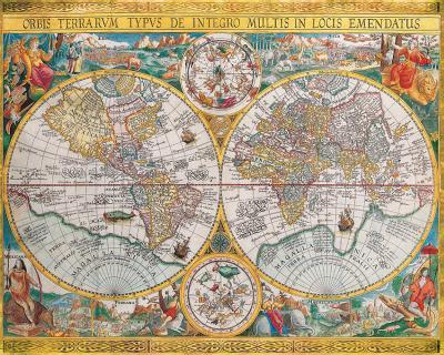 Antique Map, Orbis Terrarum, 1636-Jean Boisseau-Art Print