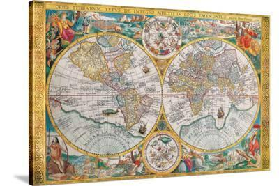 Antique Map, Orbis Terrarum, 1636-Jean Boisseau-Stretched Canvas Print