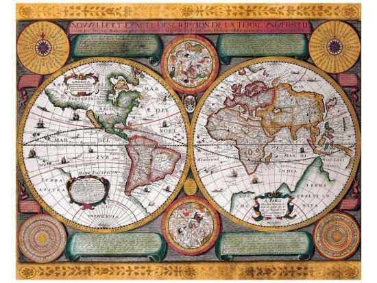 Antique Map, Terre Universelle, 1594-Petro Plancio-Premium Giclee Print