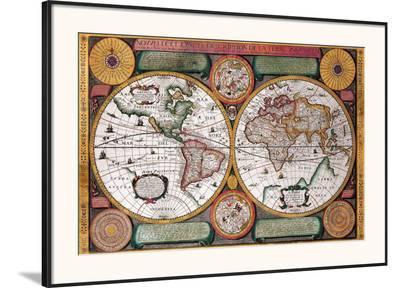 Antique Map, Terre Universelle, 1594-Petro Plancio-Framed Art Print