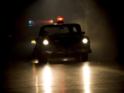 Antique Police Car on Night Patrol-Pete Ryan-Photographic Print