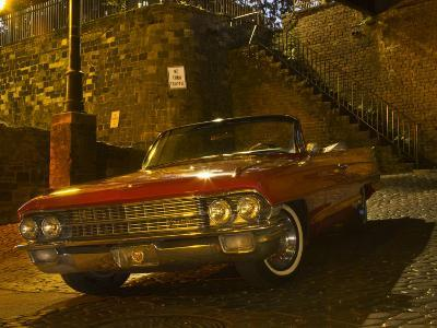 Antique Red Cadillac Parked in the Historic District, Savannah, Georgia, USA-Joanne Wells-Photographic Print