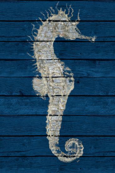 Antique Seahorse on Blue I-Patricia Pinto-Art Print