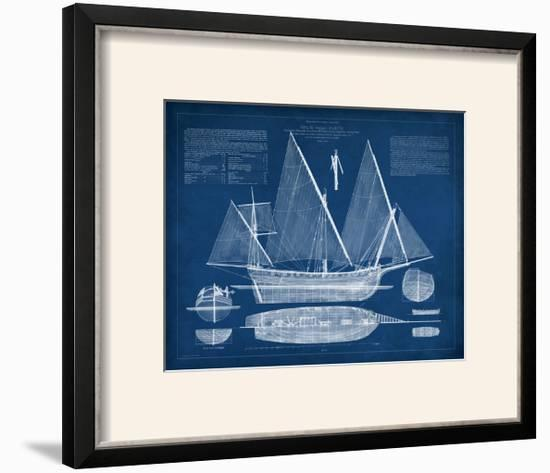 Antique Ship Blueprint III-Vision Studio-Framed Photographic Print