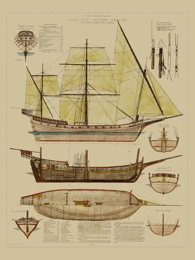 Antique Ship Plan II-Vision Studio-Art Print