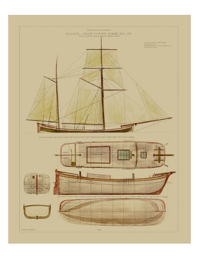 Antique Ship Plan IV-Vision Studio-Art Print